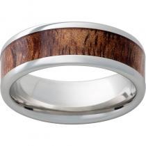 Serinium® Pipe Cut Band with Exotic Tiger Koa Wood Inlay