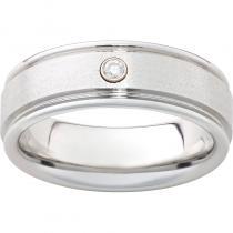 Serinium® Rounded Edge Band with One .06 Brilliant Round Diamond and a Stone Finish