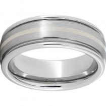 Serinium® Rounded Edge Band with a 1mm Sterling Silver Inlay and Satin Finish