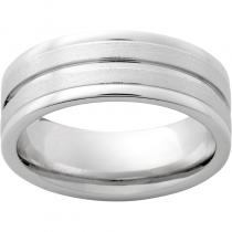 Serinium® Rounded Edge Band with One 1mm Groove and Stone Finish