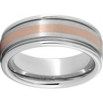 Serinium® Rounded Edge Band with 2mm 14K Rose Gold Inlay and Satin Finish