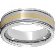 Serinium® Rounded Edge Band with a 2mm 18K Yellow Gold Inlay and Satin Finish