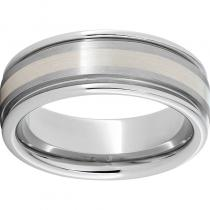 Serinium® Rounded Edge Band with a 2mm Sterling Silver Inlay and Satin Finish