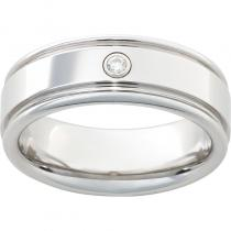 Serinium® Rounded Edge Band with One .06 Brilliant Round Diamond and a Polish Finish
