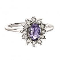 Silver Diamond & Tanzanite Ring