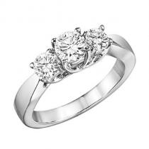 14K Diamond 3 Stone Ring 2 ctw