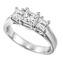 14K P/Cut Diamond 3 Stone Ring 2 ctw