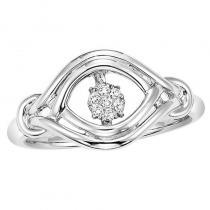 Silver Diamond Rhythm Of Love Ring 1/20 ctw