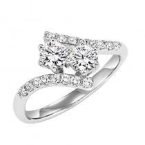 14K Diamond Two Stone Ring 3/4 ctw