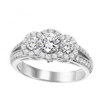 14K Diamond Engagement Ring 1 ctw with 1/2 ct Center