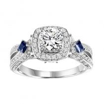 14K Diamond Engagement Ring with Sapphire 1/2 gtw. 3/4 ct at center.