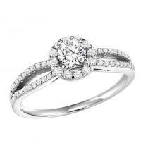 14K Diamond Engagement Ring 1/4 ctw with 1/3 ct Center