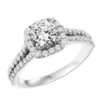 14K Diamond Engagement Ring 3/4 ctw With 3/4 ct Center Diamond