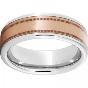 Serinium® Pipe Cut Band with a Florentine Copper Inlay and Milgrain Finish
