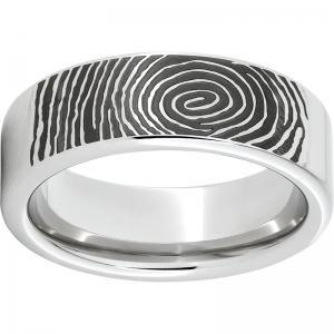 Serinium® Pipe Cut Band with Custom Fingerprint Laser Engraving