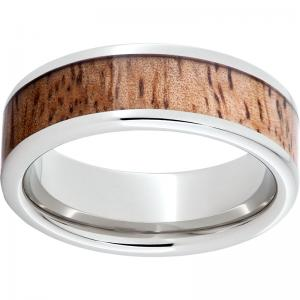 Serinium® Pipe Cut Band with Exotic Mango Wood Inlay